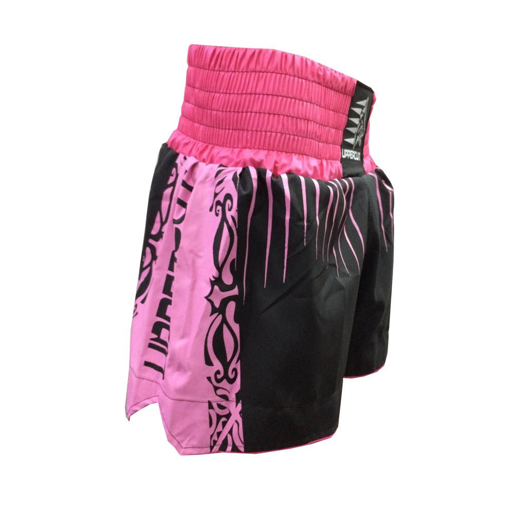 Calção Short Muay Thai / Kickboxing- Claw V2 - Preto/Rosa - Uppercut  - Loja do Competidor