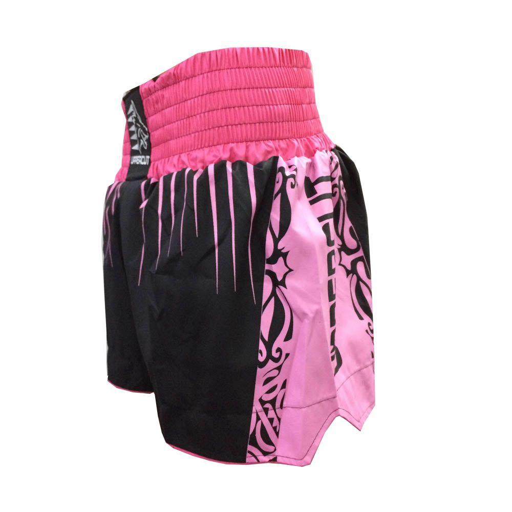 Calção Short Muay Thai / Kickboxing- Claw V2 - Preto/Rosa - Uppercut  - Loja do Competidor