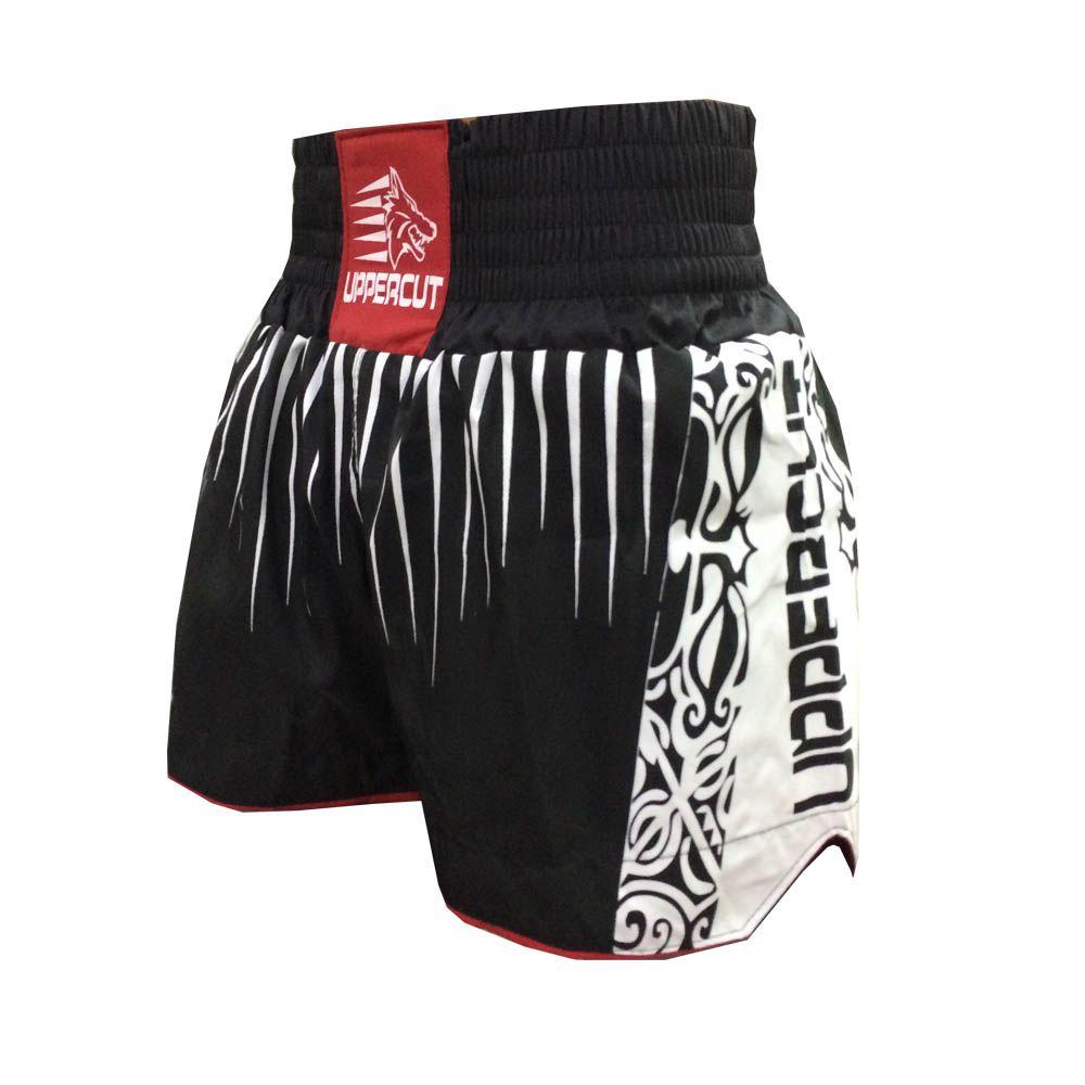 Calção Short Muay Thai Kickboxing Claw V2 - Preto/Verm/Branco - Cintura Preta - Uppercut