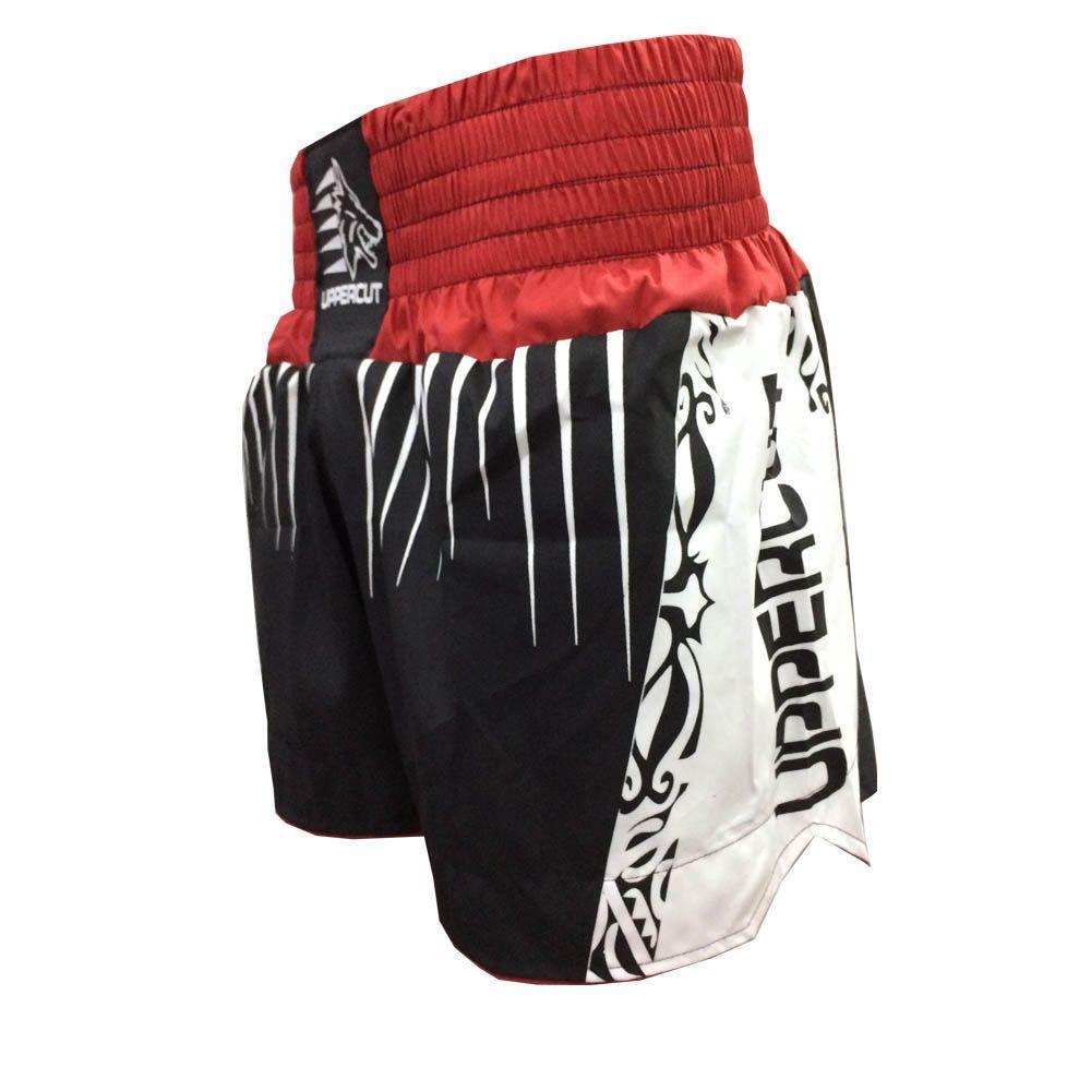 Calção Short Muay Thai / Kickboxing Claw V2 - Preto/Verm/Branco - Cintura Vermelha- Uppercut