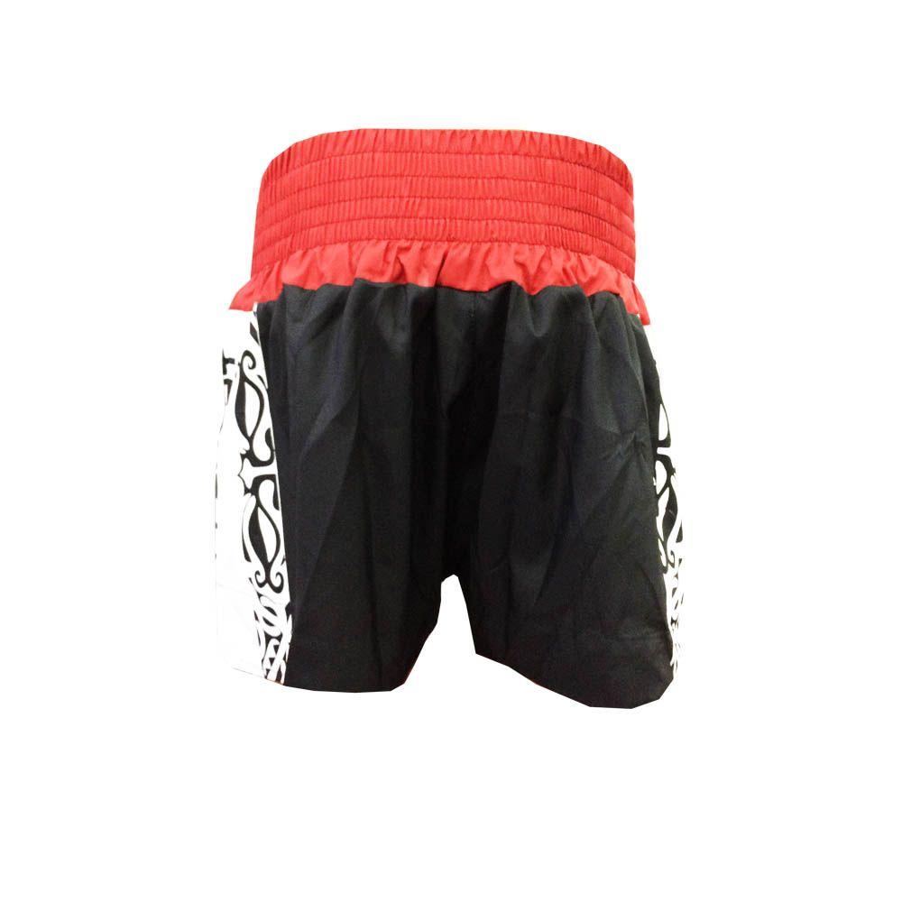 Calção Short Muay Thai / Kickboxing Claw V2 - Preto/Verm/Branco - Cintura Vermelha- Uppercut  - Loja do Competidor