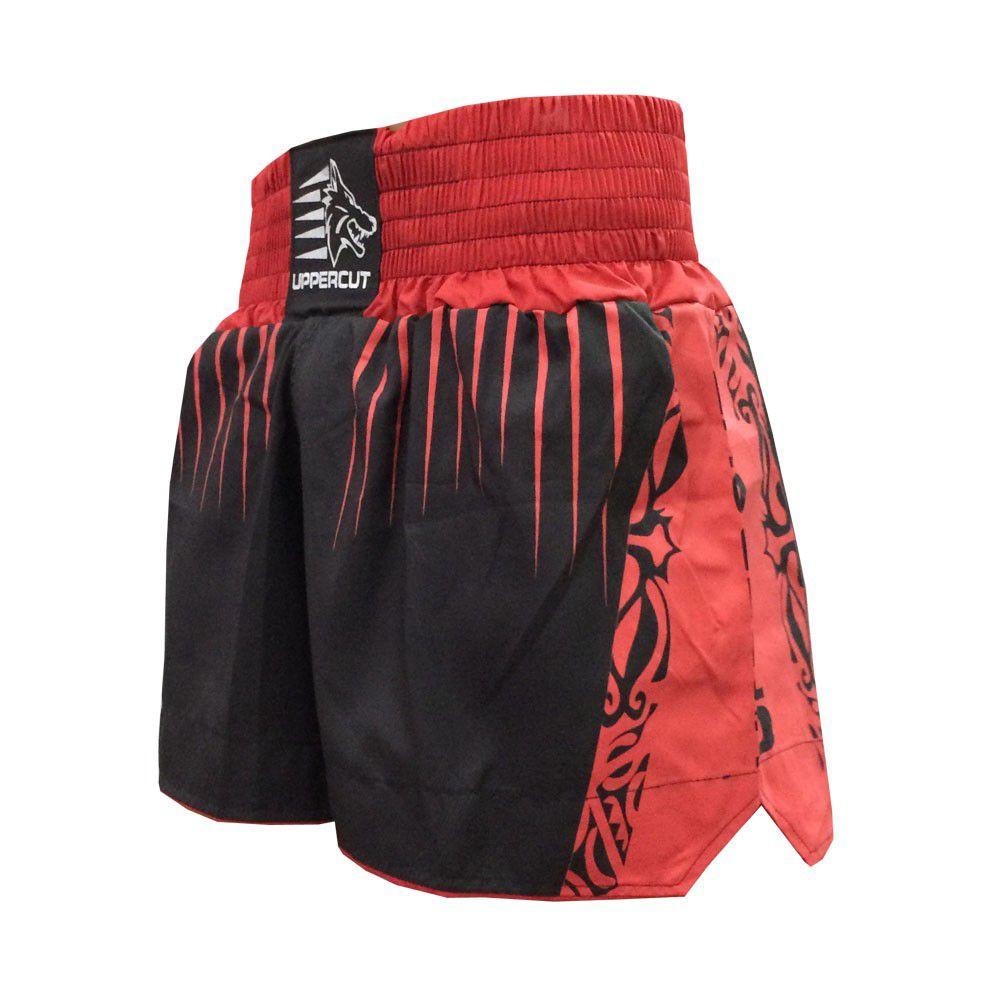 Calção Short Muay Thai / Kickboxing- Claw V2 - Vermelho/Preto- Uppercut -