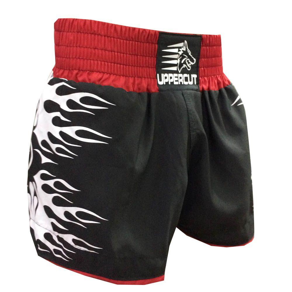 Calção Short Muay Thai Kickboxing - Explosion - Preto/Verm - Uppercut -