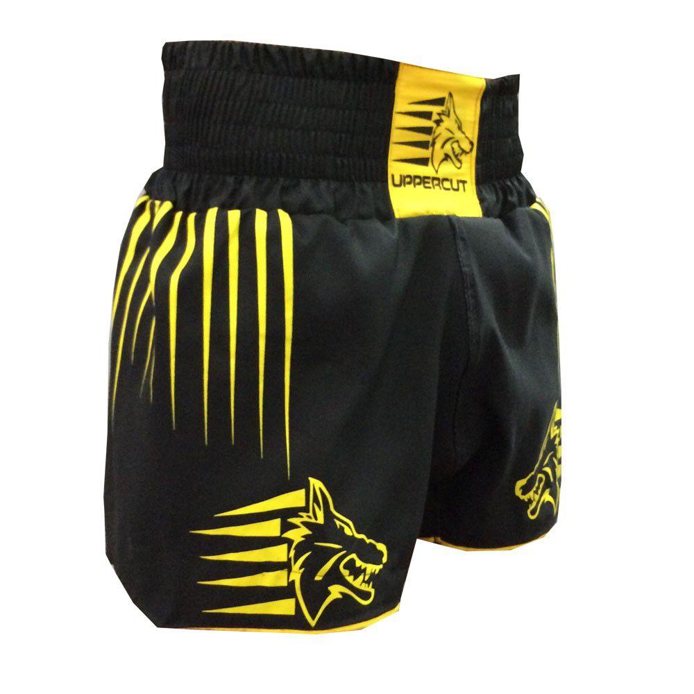 Calção Short Muay Thai / Kickboxing - Claw - Preto/Amarelo- Uppercut -
