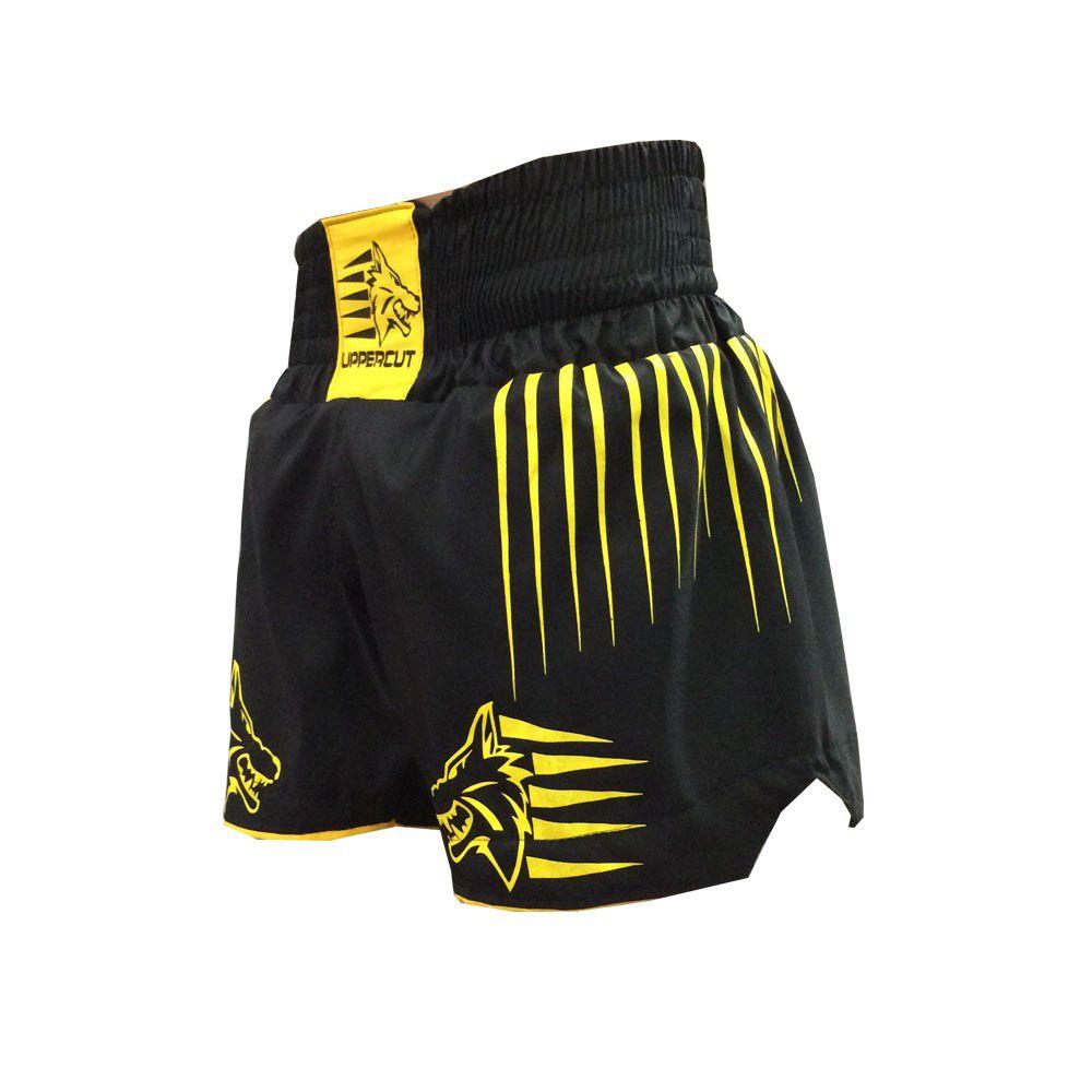 Calção Short Muay Thai / Kickboxing - Claw - Preto/Amarelo- Uppercut -  - Loja do Competidor