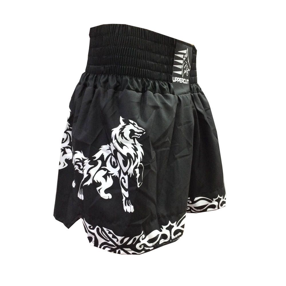 Calção / Short Muay Thai / Kickboxing -Ghost- Preto/Branco- Uppercut