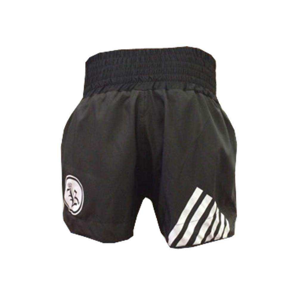 Calção / Short Muay Thai / Kickboxing  - Kruang - 6 Lines- Preto- Uppercut  - Loja do Competidor