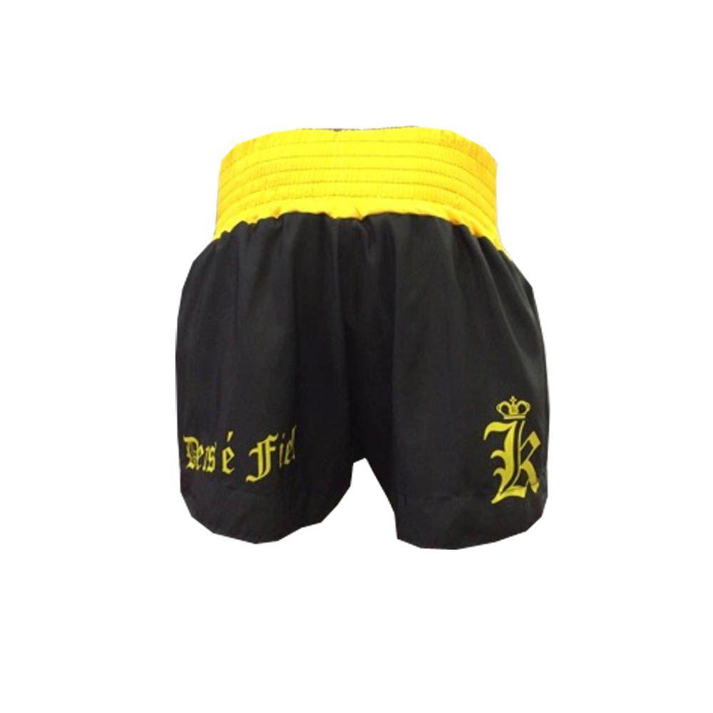 Calção / Short Muay Thai / Kickboxing  - Kruang - God- Preto/Amarelo- Uppercut  - Loja do Competidor