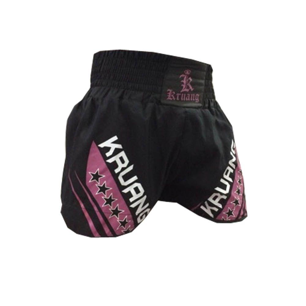 Calção / Short Muay Thai / Kickboxing  - Kruang - Style - Preto/Rosa- Uppercut