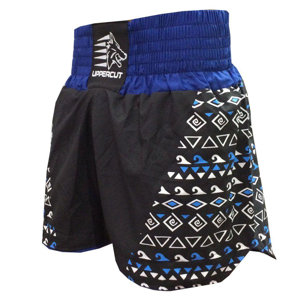 Calção / Short Muay Thai / Kickboxing -Maori - Preto/Azul- Uppercut