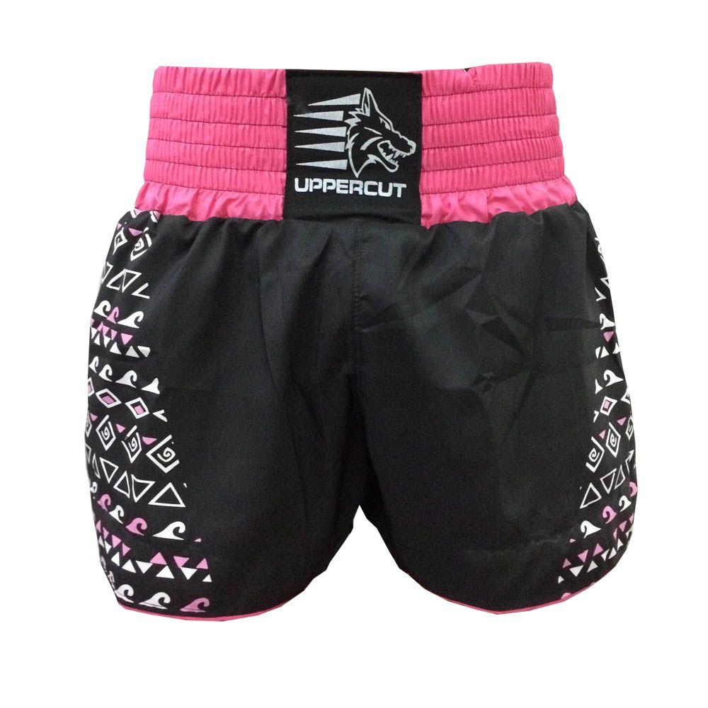 Calção Short Muay Thai / Kickboxing Maori - Preto/Rosa - Uppercut  - Loja do Competidor