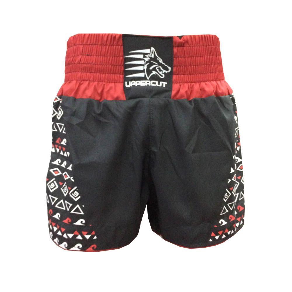 Calção Short Muay Thai / Kickboxing Maori - Preto/Vermelho - Uppercut  - Loja do Competidor