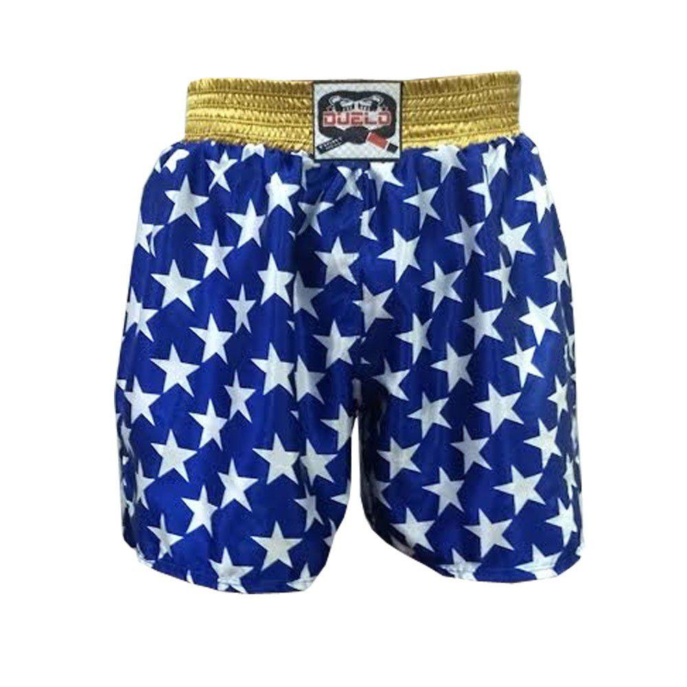 Calção / Short Muay Thai / Kickboxing - Azul-  Duelo Fight .  - Loja do Competidor