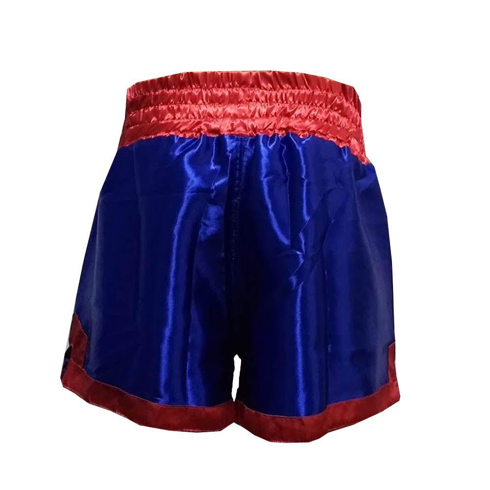 Calção Short Muay Thai - King - Azul/Vermelho - One Sport   - Loja do Competidor