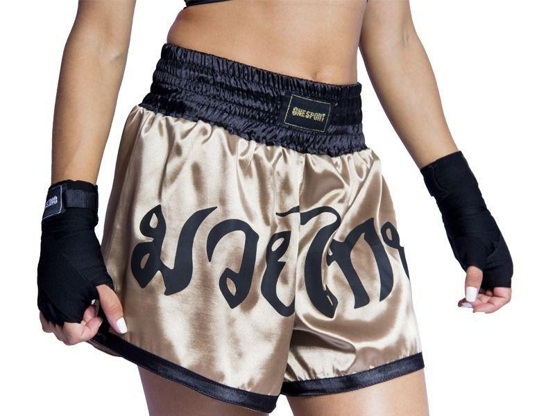 Calção / Short Muay Thai - King - Preto/Dourado - One Sport .