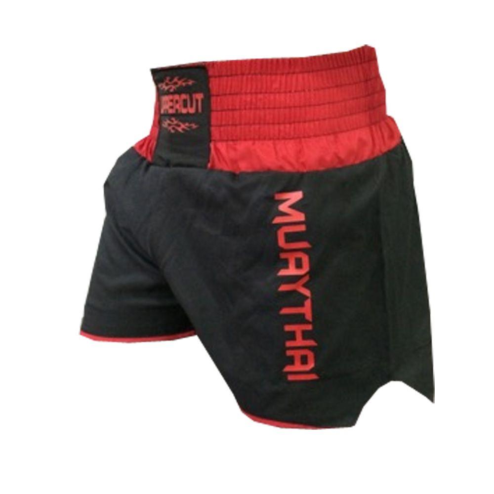 Calção Short Muay Thai - Lutador V1 -  Preto/Vermelho  - Uppercut -