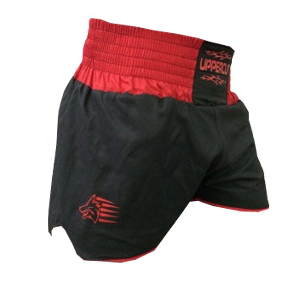 Calção Short Muay Thai - Lutador V1 -  Preto/Vermelho  - Uppercut -  - Loja do Competidor