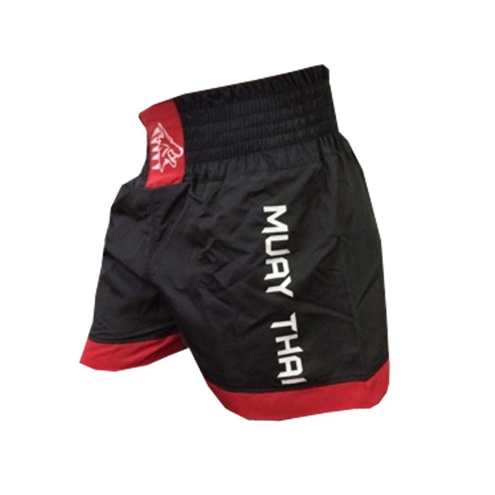 Calção / Short Muay Thai - Lutador V2 - Preto/Vermelho  - Uppercut