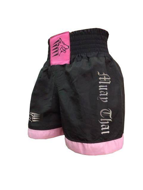 Calção / Short Muay Thai - Nacional - Preto/Rosa- Uppercut