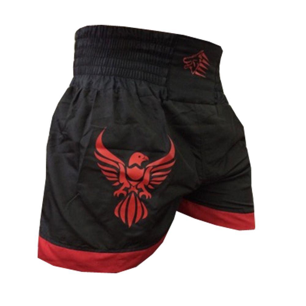Calção Short Muay Thai - Phoenix V1 - Preto/Vermelho - Uppercut -