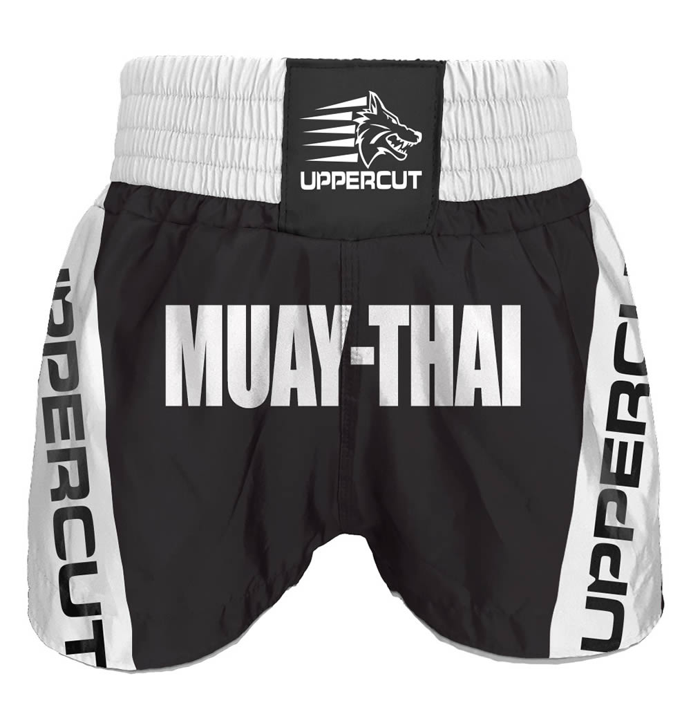 Calção Short Muay Thai - Premium - Preto/Branco - Uppercut  - Loja do Competidor