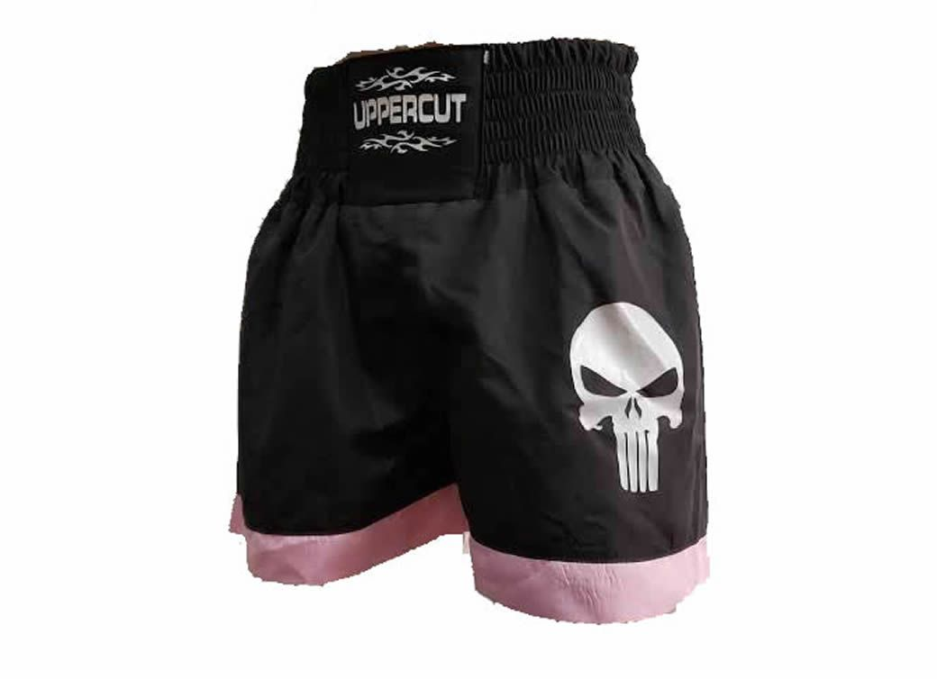 Calção Short Muay Thai - Punisher - Preto/Rosa - Uppercut