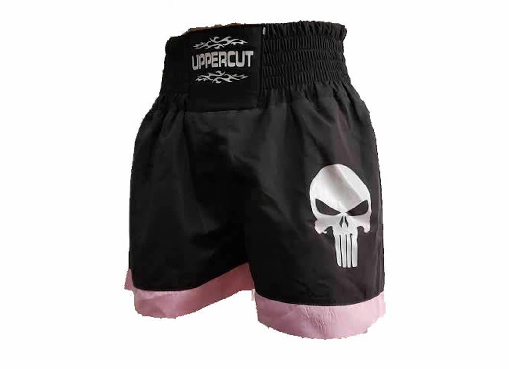Calção Short Muay Thai - Punisher - Preto/Rosa - Uppercut  - Loja do Competidor