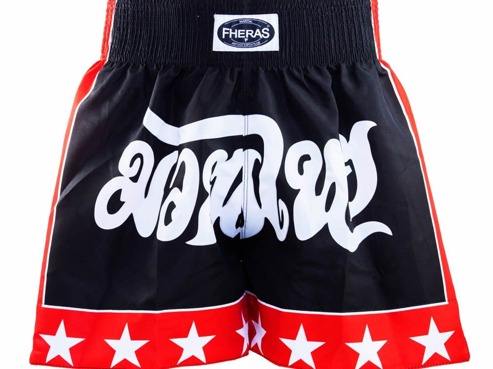 Calção Short Muay Thai - Stars 1333 - Preto/Verm - Fheras