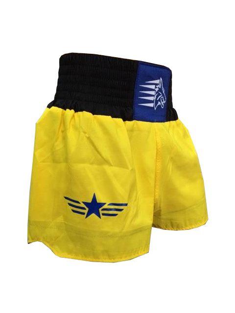 Calção Short Muay Thai - Stars - Tribal - Azul/Amarelo- Uppercut  - Loja do Competidor