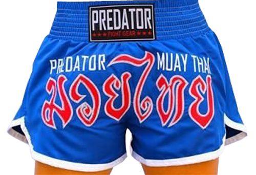 Calção / Short Muay Thai - Thailand - Bordado - Azul- Unissex - Predator .