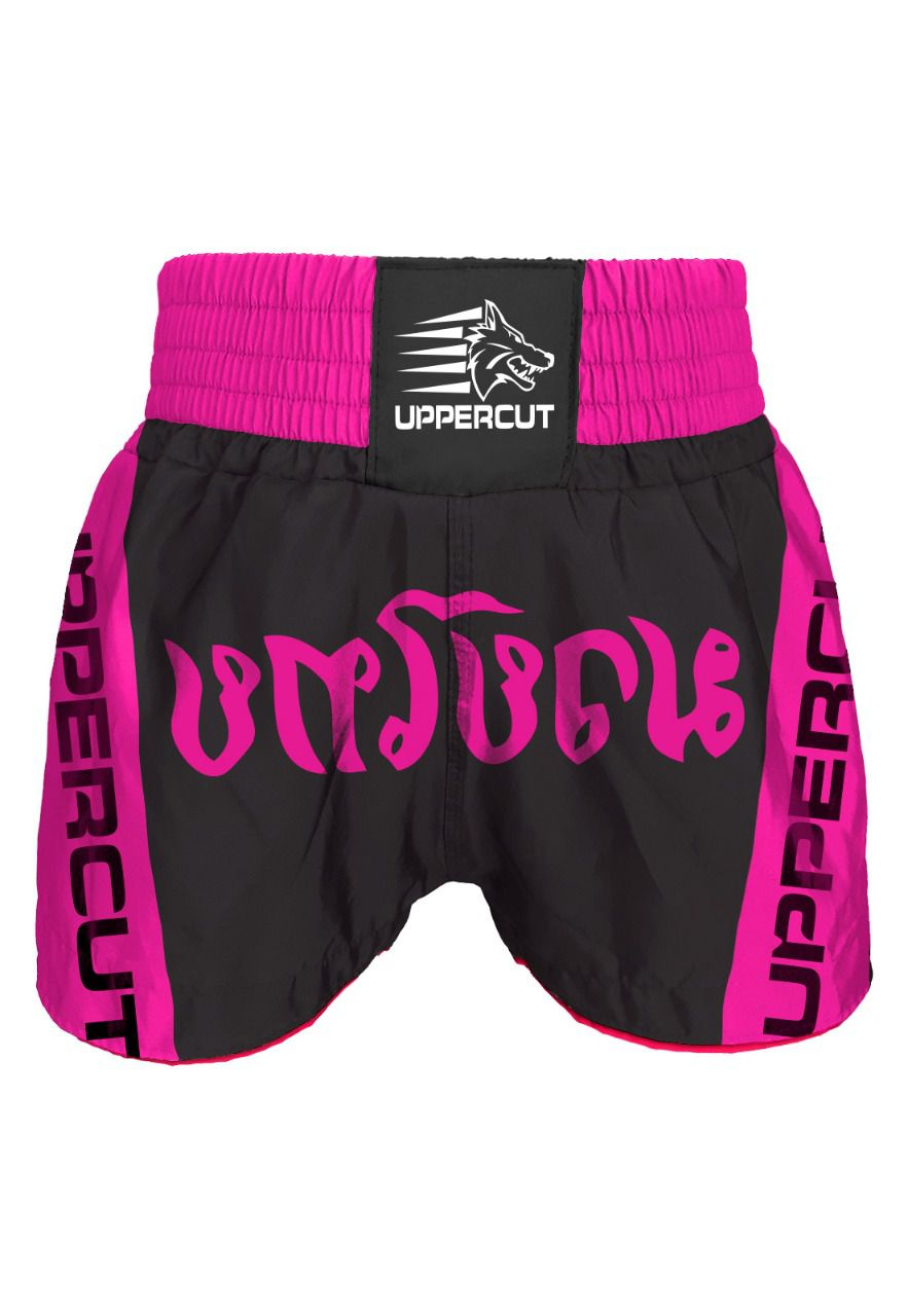 Calção Short Muay Thai - Traditional - Feminino - Preto/Rosa- Uppercut -  - Loja do Competidor