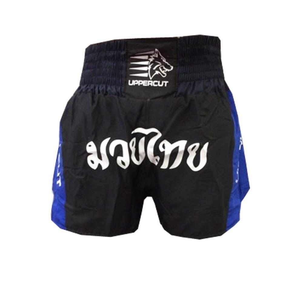 Calção Short Muay Thai - Traditional - Preto/Azul- Uppercut  - Loja do Competidor