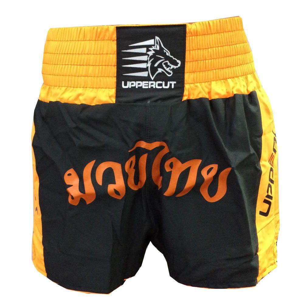 Calção / Short Muay Thai - Traditional - Unisex - Preto/Laranja- Uppercut .  - Loja do Competidor
