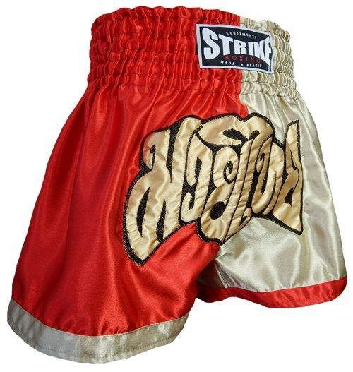 Calção Short Muay Thai - Treino - Dourado / Vermelho - Strike -