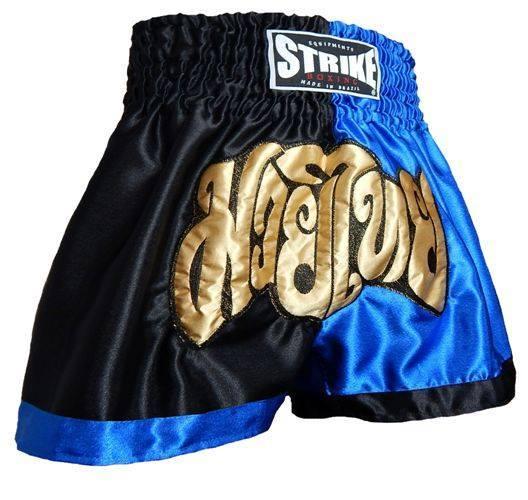 Calção / Short Muay Thai - Treino - Preto / Azul - Strike  - Loja do Competidor