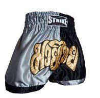 Calção / Short Muay Thai - Treino - Preto / Prata - Strike  - Loja do Competidor