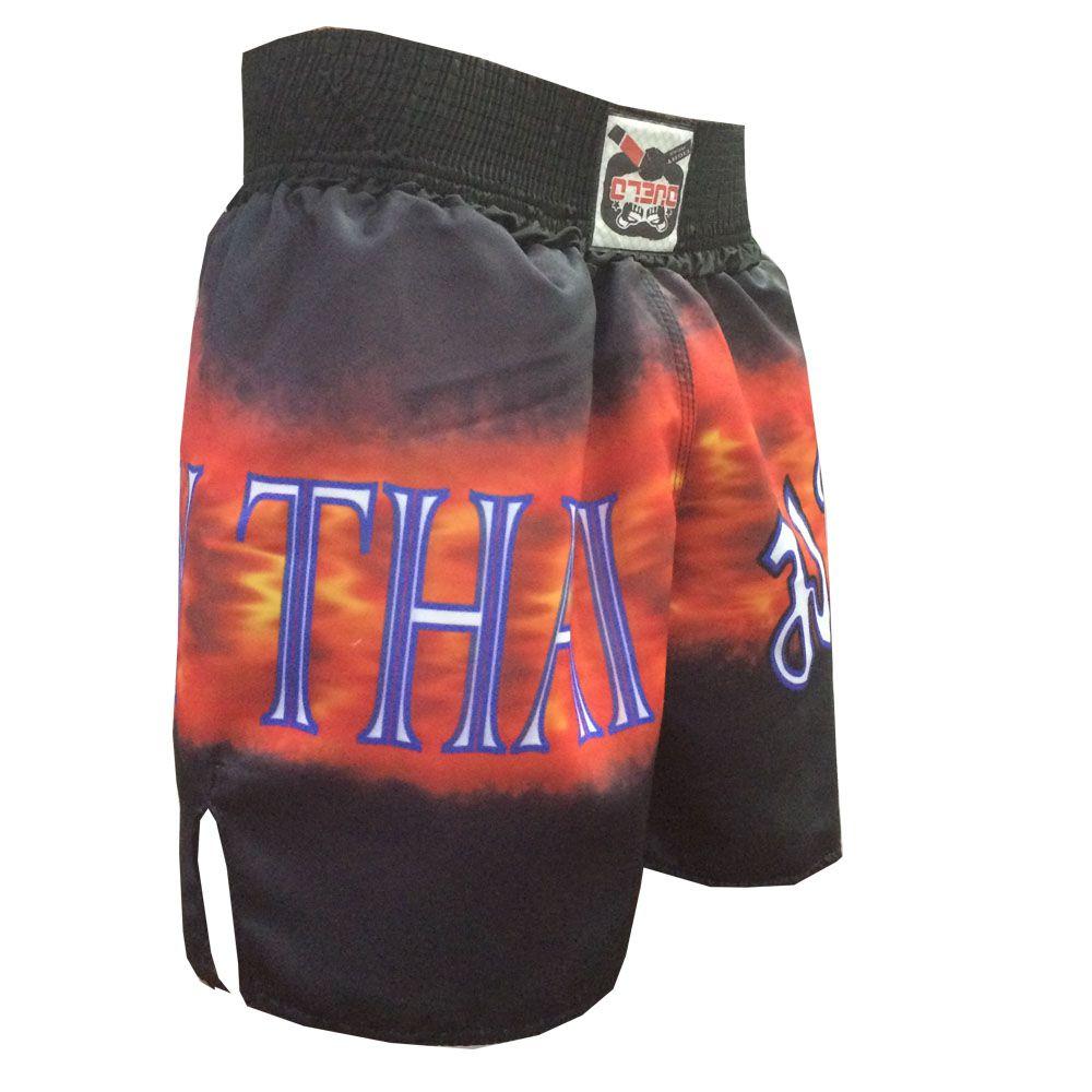 Calção Short Muay Thai - Vulcan - Preto/Vermelho/Azul - Duelo Fight