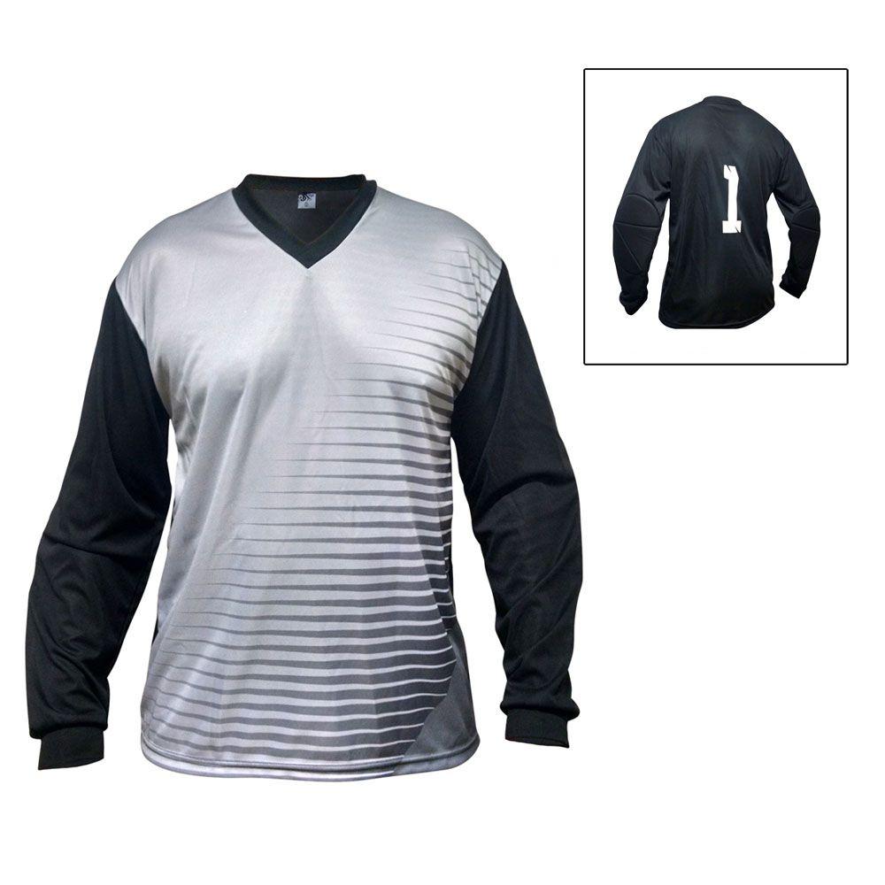 Camisa Blusão Goleiro- Futebol / Futsal / Society -  Parma - N1 - Cinza/Preto- Adulto - Kanga