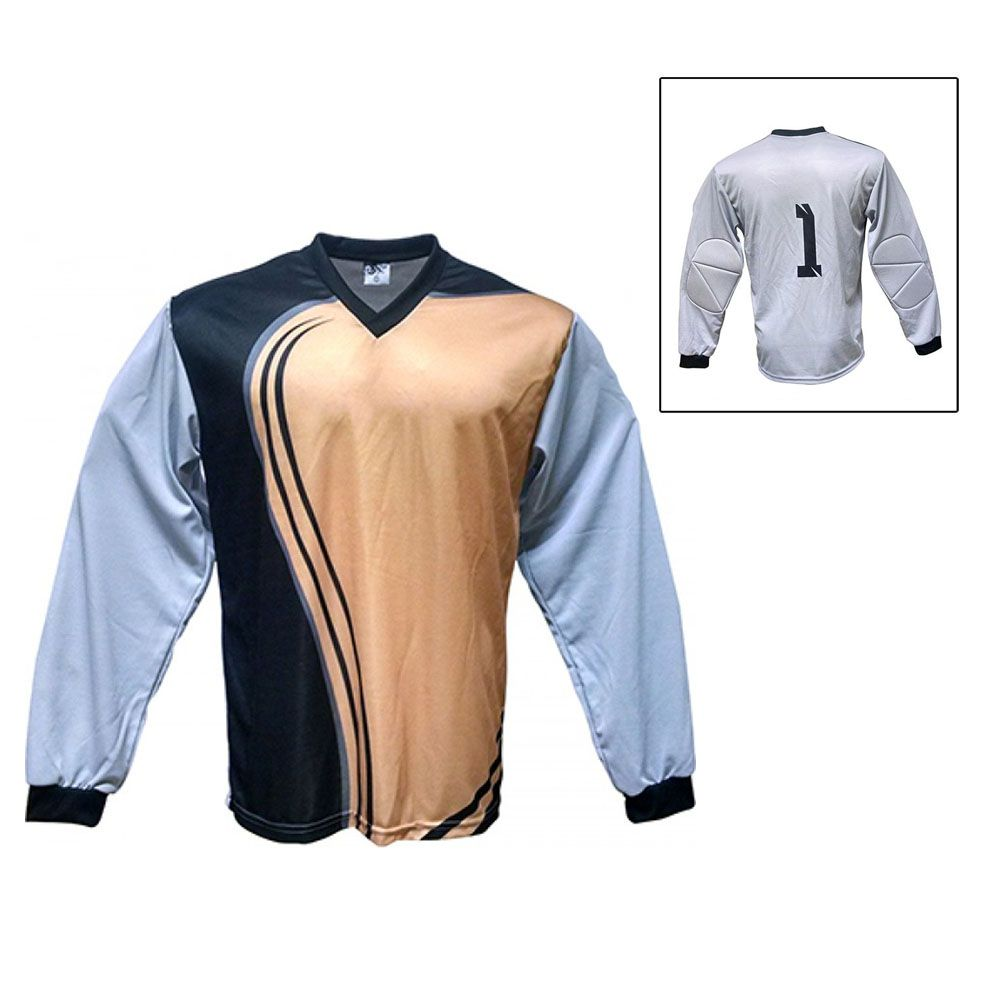 Camisa Blusão Goleiro- Futebol / Futsal / Society-  Parma - N1 - Dourado/Preto- Adulto - Kanga