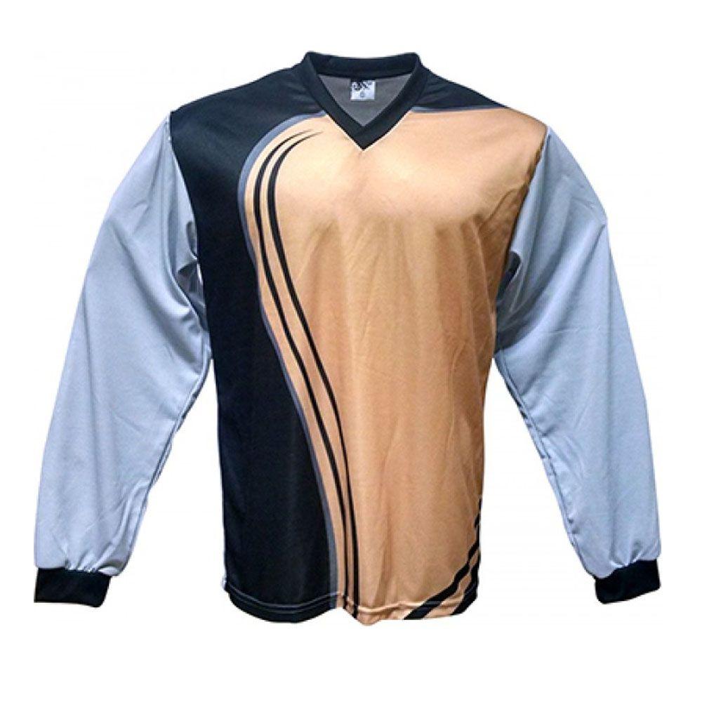 Camisa Blusão Goleiro- Futebol / Futsal / Society-  Parma - N1 - Dourado/Preto- Adulto - Kanga  - Loja do Competidor