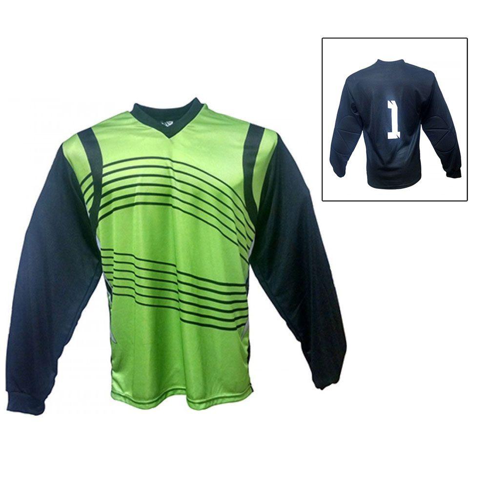 Camisa Blusão Goleiro- Futebol / Futsal / Society-  Parma - N1 - Verde/Preto- Adulto - Kanga