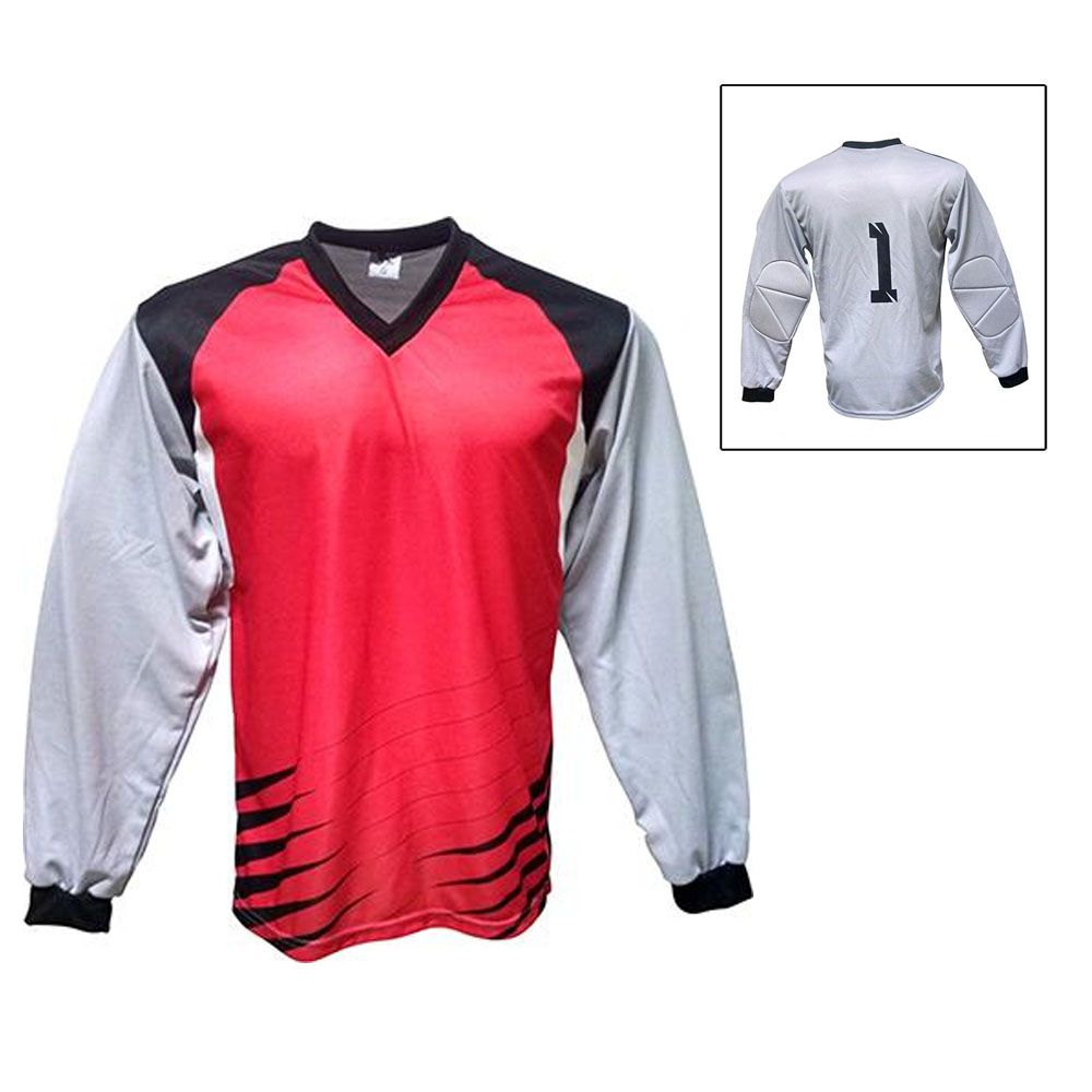 Camisa Blusão Goleiro- Futebol / Futsal / Society-  Parma - N1 - Vermelho/Preto- Adulto - Kanga