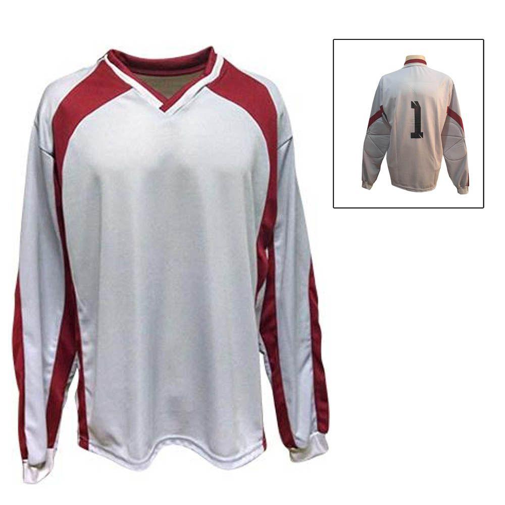 Camisa Blusão Goleiro- Futebol / Futsal / Society- Turim - Branco/Verm - Adulto - Kanga