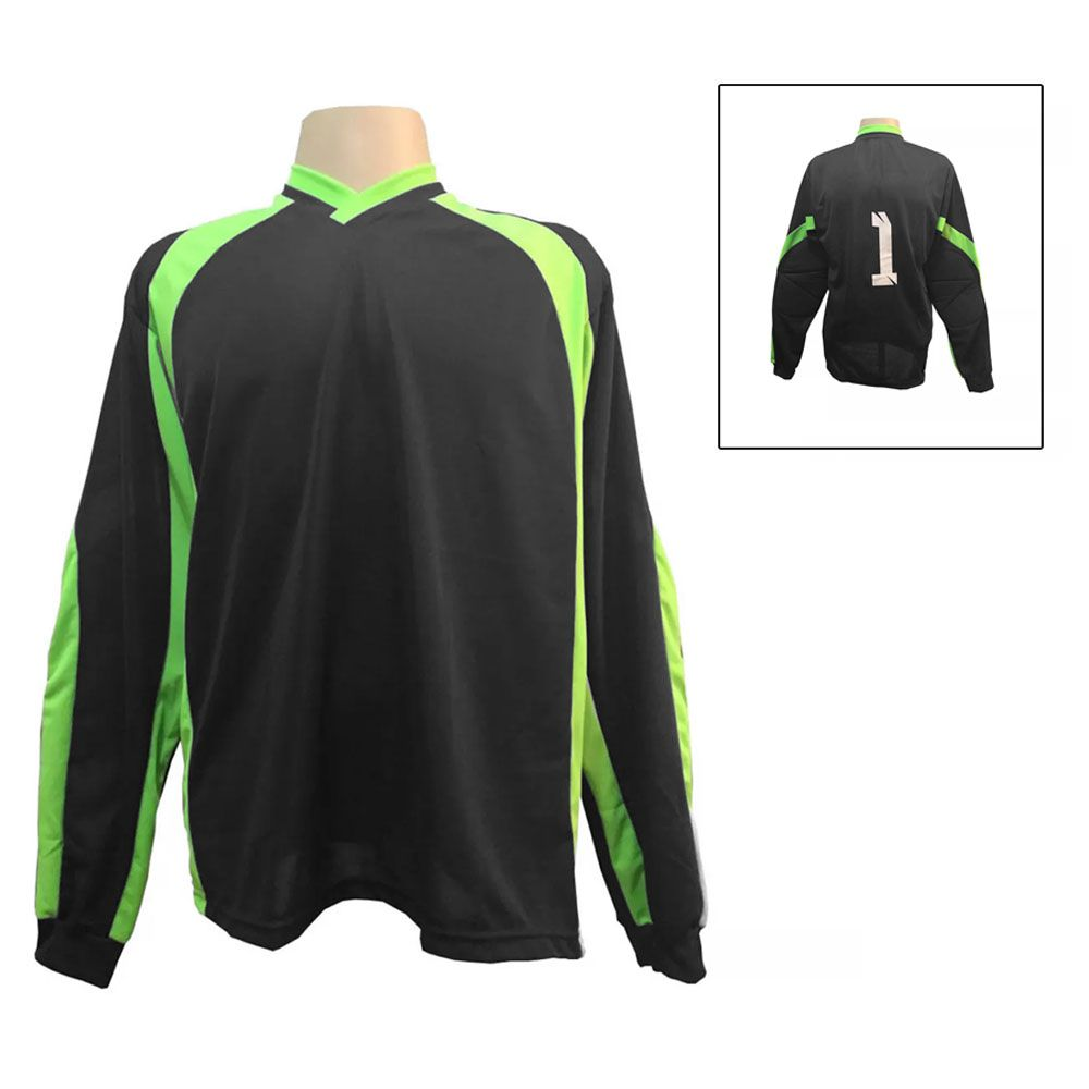 Camisa Blusão Goleiro- Futebol / Futsal / Society- Turim - Preto/Verde - Adulto - Kanga