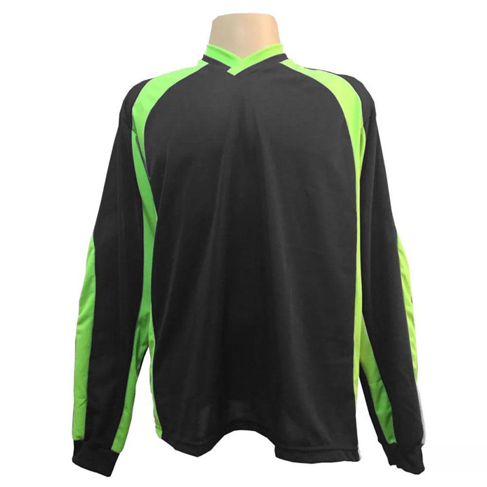 Camisa Blusão Goleiro- Futebol / Futsal / Society- Turim - Preto/Verde - Adulto - Kanga  - Loja do Competidor