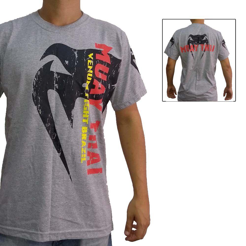 Camisa/Camiseta - Combate - Muay Thai - Cinza - Venum .  - Loja do Competidor