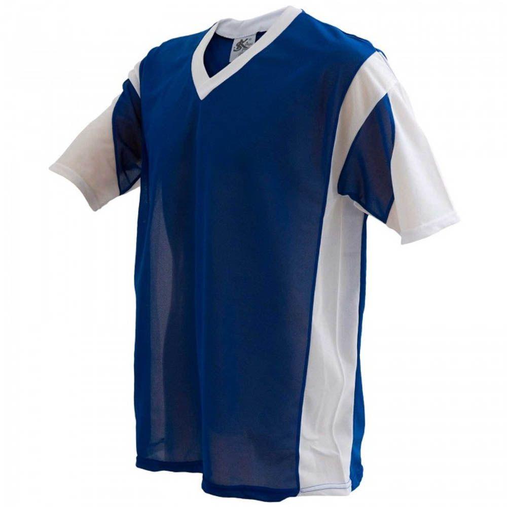 Camisa Camiseta - Futebol / Futsal / Volei - Attack- Branco/Azul- Adulto - Kanga