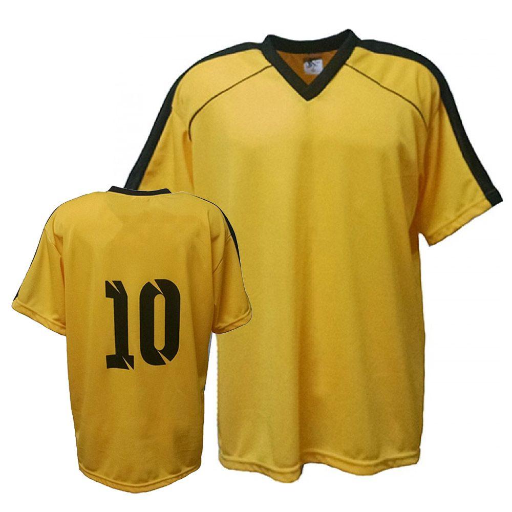 Camisa Camiseta Futebol / Futsal / Volei Arezzo- Amarelo/Preto- Adulto - Kanga