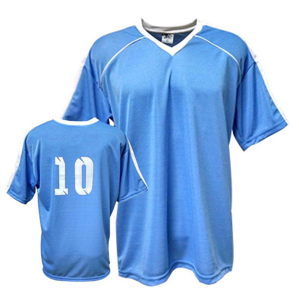 Camisa Camiseta Futebol   Futsal   Volei Arezzo Azul Branco- Adulto - Kanga 9de2857987aeb