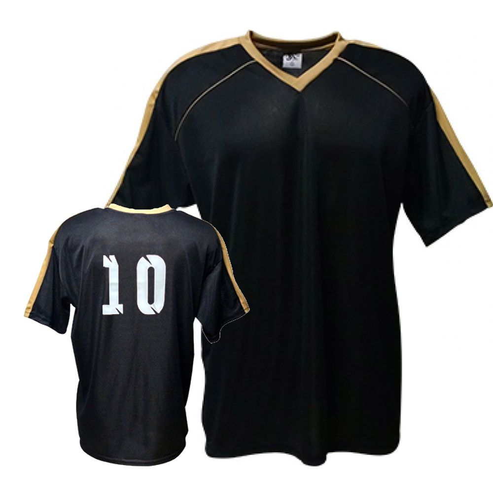 Camisa Camiseta Futebol   Futsal   Volei Arezzo- Preto Dourado- Adulto -  Kanga a60dba2ce26dc
